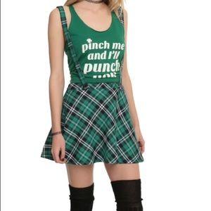 Green black plaid suspender skater circle skirt